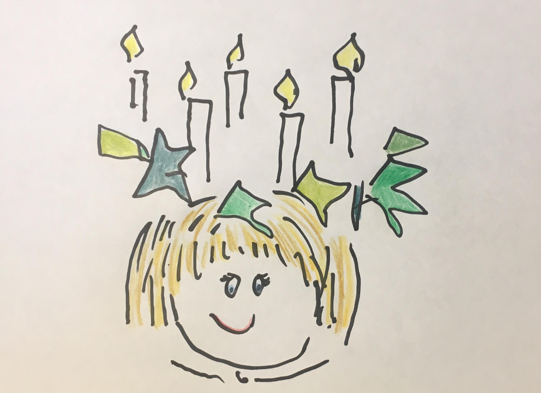 Zeichnung ein kindliches Gesicht mit einem BlätterKranz auf dem Kopf darauf einige brennende Kerzen. Copyright DT