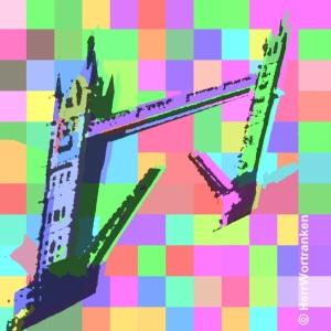 Siebdruck in popArt-Technik mit Hintergrund kariert mit 11 x 12Kacheln unterschiedlicher mono-Farben | Die Farben sind blass, ca. 50% Kontrast | davor das Motiv der