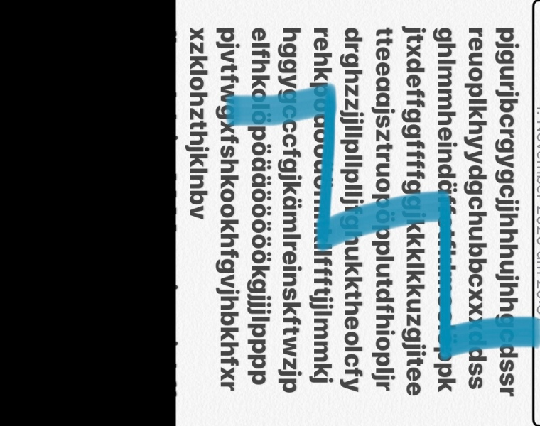 Rechteck. mattschwarze Buchstaben auf weißem Hintergrund senkrecht verlaufend. Am linken Rand ein schwarzer Balken; senkrecht von oben bis unten, in der Breite etwa ein Fünftel des Bildes einnehmend. ein leuchtend blauer Krakelstrich geht diagonal von links oben nach links unten