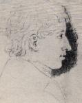 Ferdinand Grimm, als Neunzehnjähriger, Profil. Schwarz-weiß Zeichnung.
