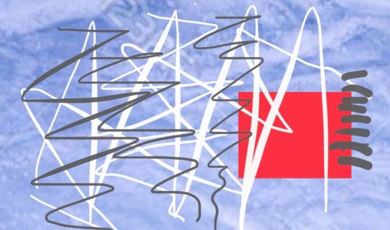 liegendes Rechteckeis blau mit Zackenlinien quer übers Bild in Weiß und Grau. in der rechten unteren Ecke befindet sich ein rotes Quadrat